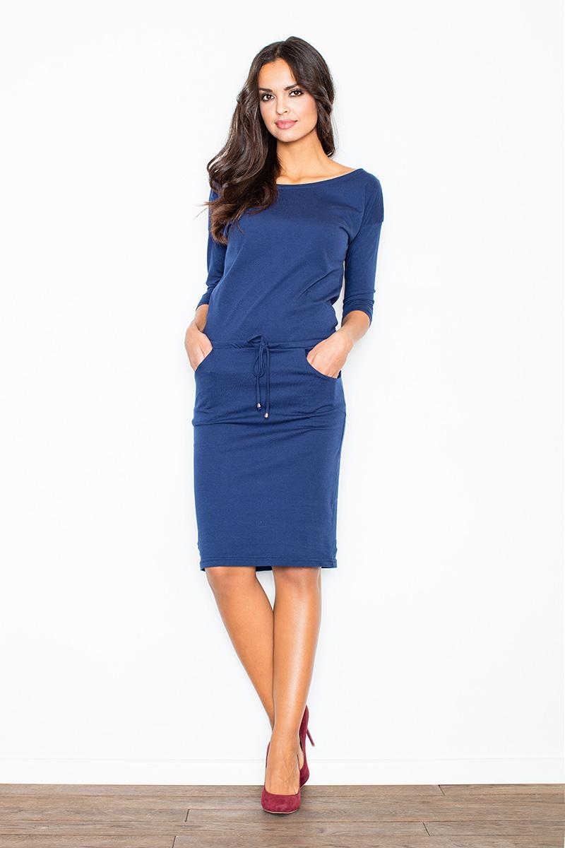 f0db17a41101 Figl - Dámske modré športové úpletové šaty s vreckami