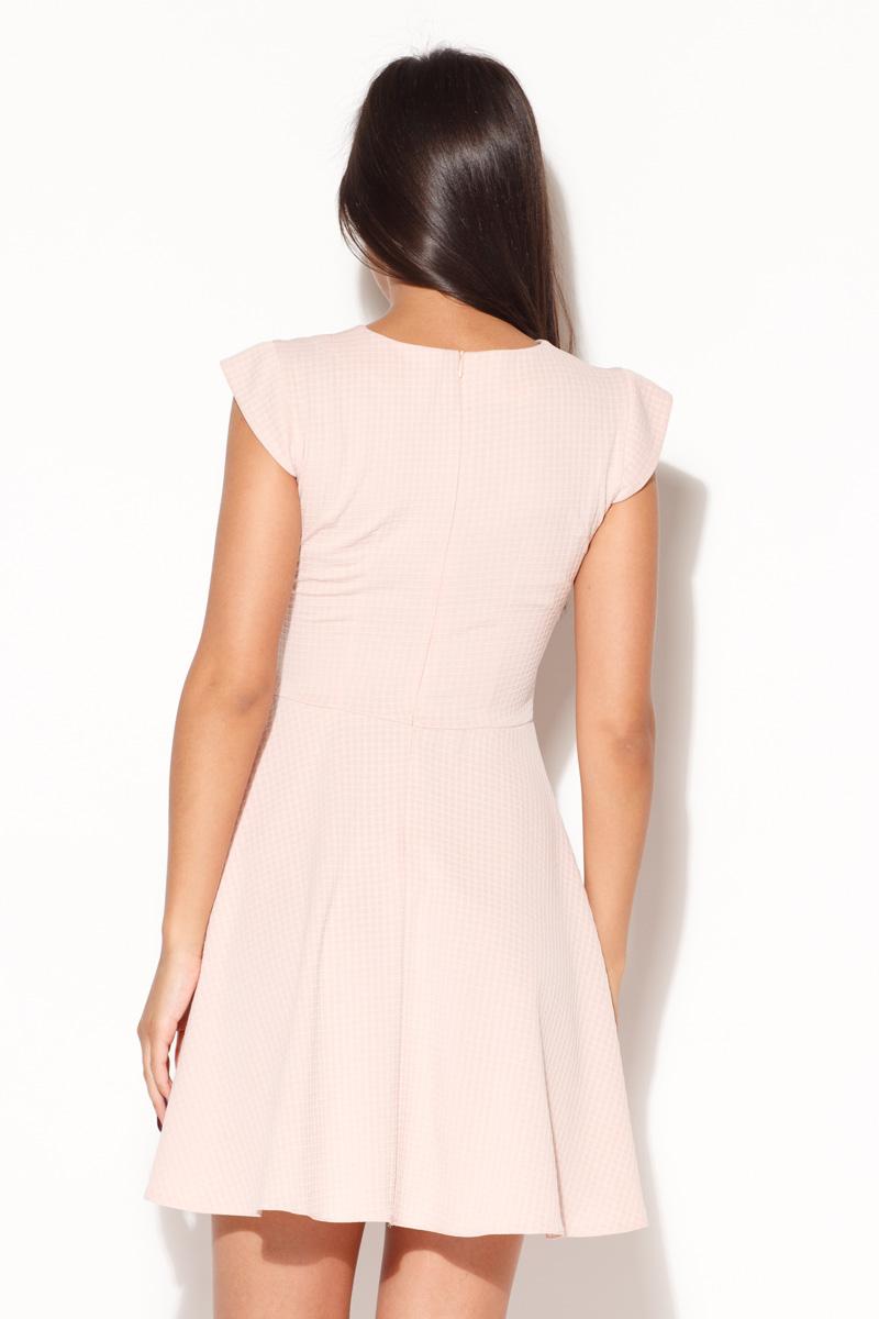 e03c31a46094 Katrus – Dámske ružové úpletové letné šaty s kruhovou sukňou k162