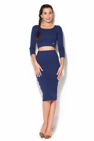 6480ee873e25 Katrus – Dámsky modrý úpletový komplet sukňa a top k185