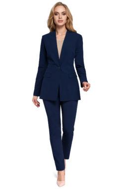Moe – Dámske námornícke modré elegantné sako so zapínaním ... 533db24fc95