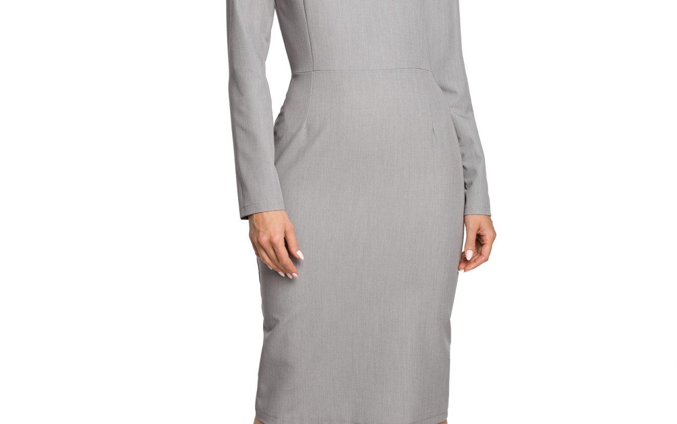 4c1327c4b0bf Moe - Dámske sivé elegantné šaty MOE326
