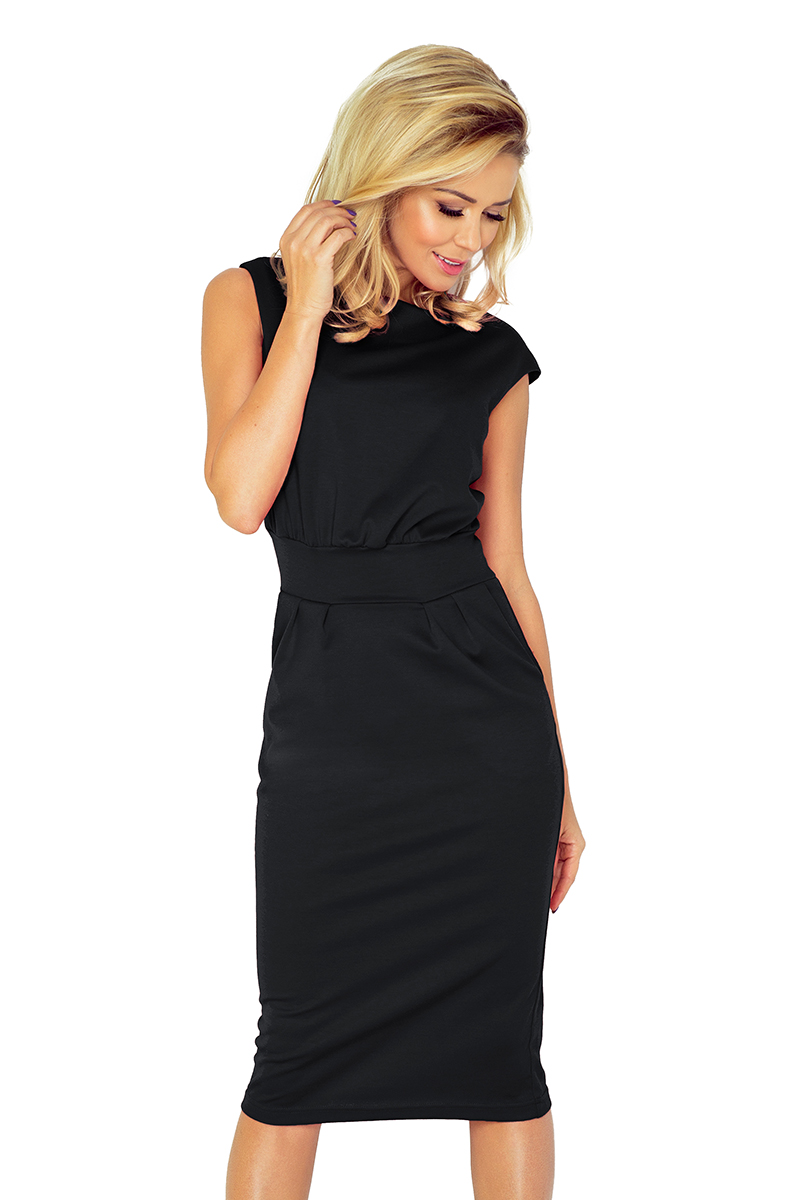 9ba59bef0d43 Numoco - Dámske čierne elegantné šaty s krátkymi rukávmi