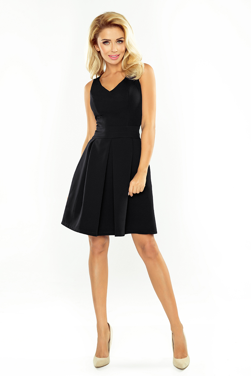 93702211542a Numoco – Dámske čierne spoločenské šaty s krátkymi rukávmi ...