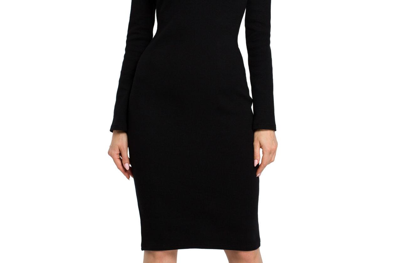 Moe - Dámske čierne púzdrové úpletové šaty MOE393 b89cbfb8745