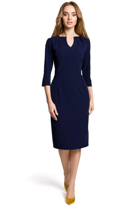 9643d18e723f Moe - Dámske tmavo modré jednoduché elegantné šaty MOE366