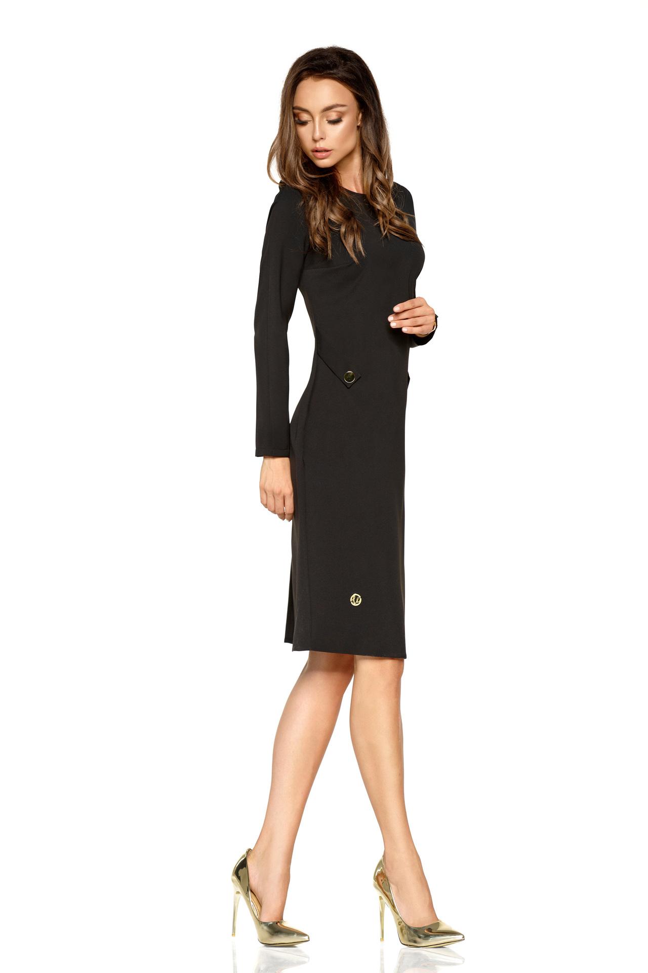 Lemoniade - Čierne elegantné biznis šaty s dlhými rukávmi fcba5d43999