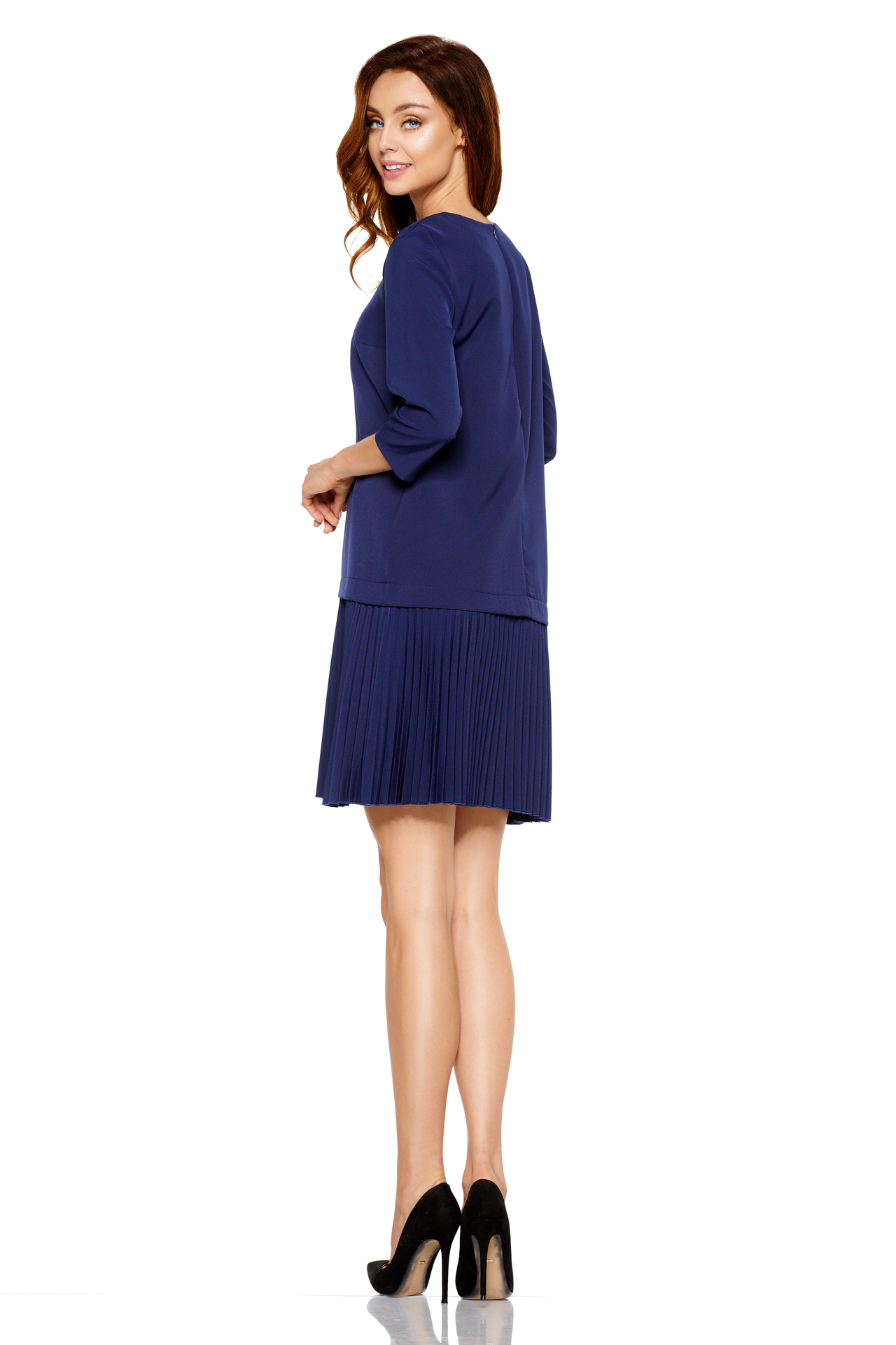 501ca3b0dec1 Lemoniade – Tmavo modré jednoduché šaty s plisovanou sukňou L266