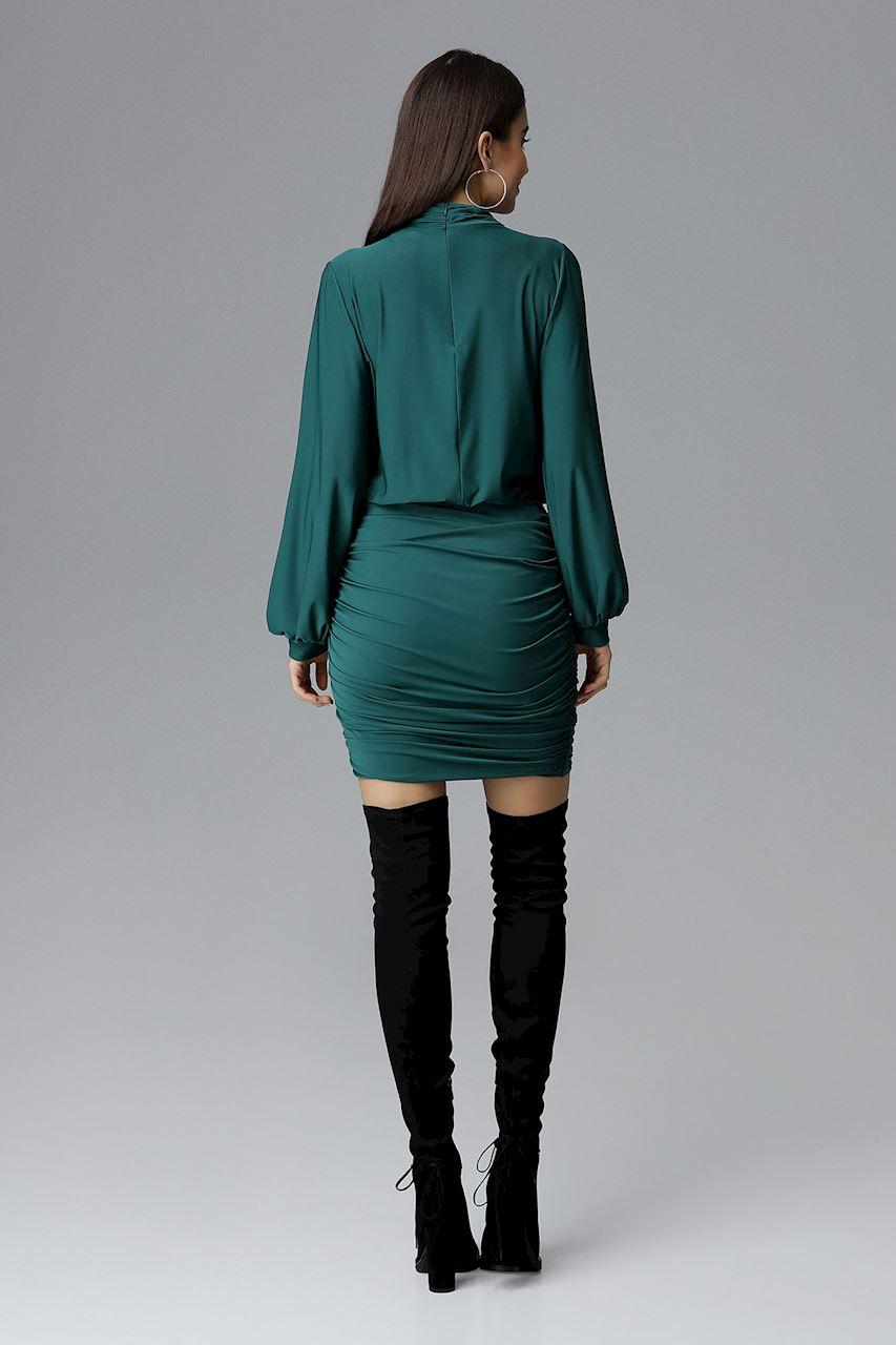 b30c37712ec1 Figl - Dámske elegantné večerné tmavo zelené šaty s riasením
